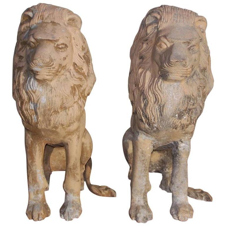 Pair of English Cast Iron Poly Chromed Sitting Lions, Circa 1840