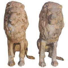 Pair of English Cast Iron Poly Chromed Sitting Lions, Circa 1840