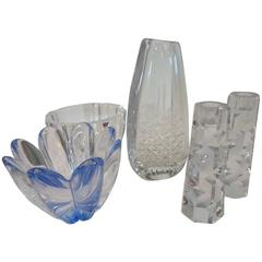 Orrefors Vase, Candlesticks, Bowls Made of Crystal