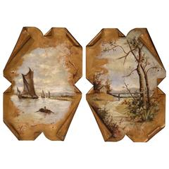 Pair of 19th Century French Hand-Painted Tole Wall Panels Signed Jonquina