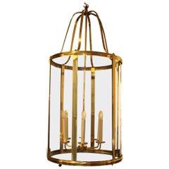 Large French Mid-Century Brass Lantern