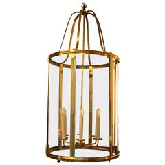 Large French Mid-Century Brass Lantern