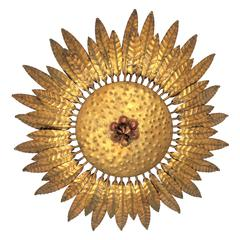 1960s Spanish Hammered Gilt Iron Flower Burst Ceiling Flush Mount or Wall Light