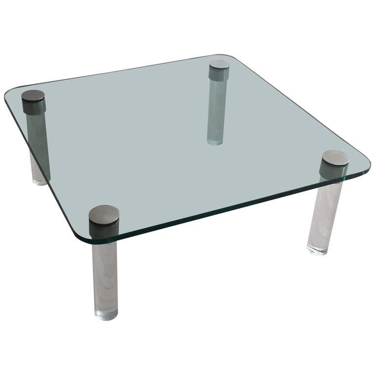 Pace Glass Lucite And Chrome Square Coffee Table For Sale At 1stdibs