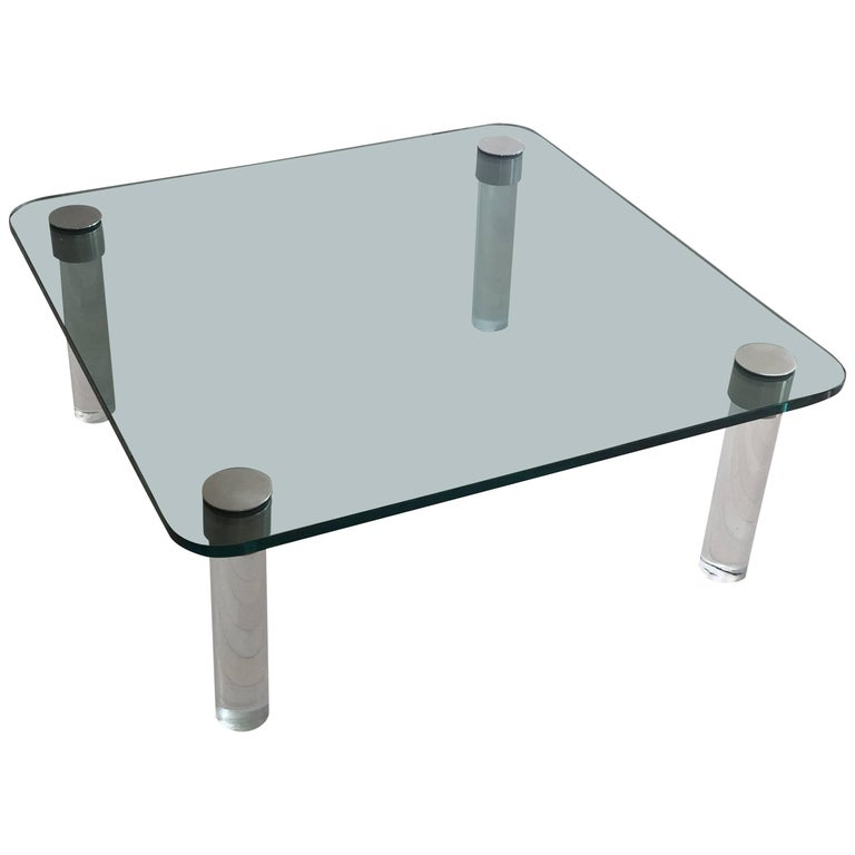 Pace Glass, Lucite and Chrome Square Coffee Table For Sale