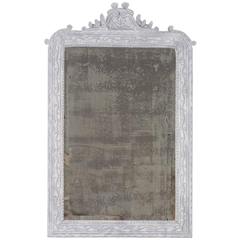 Antique French Painted, Carved Timber Louis Philippe Mirror, circa 1890 For Sale