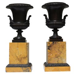 Pair of French Charles X Sienna Marble and Bronze Tazzas
