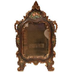 19th Century French Napoleon III Carved Wall Mirror with Hand-Painted Flowers