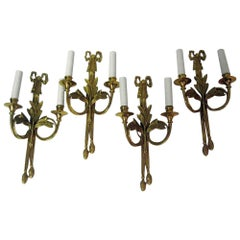 Mid-Century Gilded Bronze French Wall Sconces, Set of Four