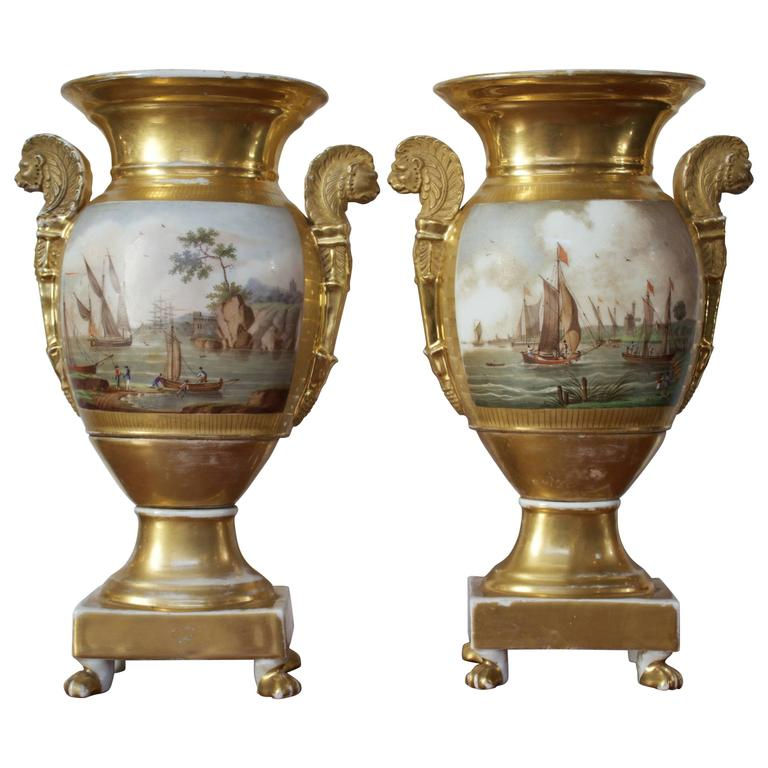 Pair of Empire Period Porcelain Vases with Maritime Scene 1