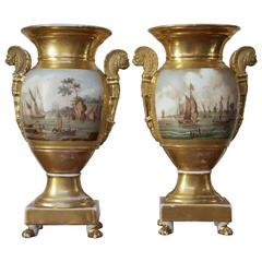 Pair of Empire Period Porcelain Vases with Maritime Scene