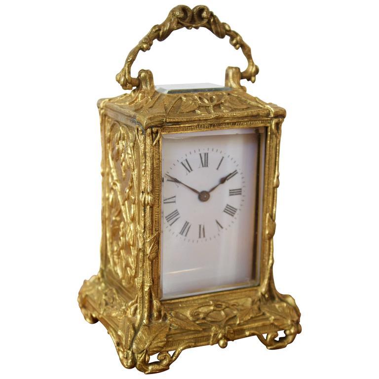 Antique French Art Nouveau Gilt Bronze Carriage Clock 1