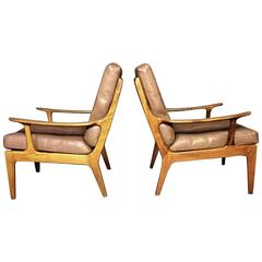 Solid Rosewood and Leather Lounge Chairs, Denmark, circa 1970