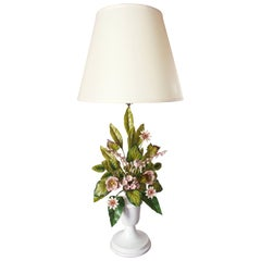 Vintage Italian Tole Floral Lamp