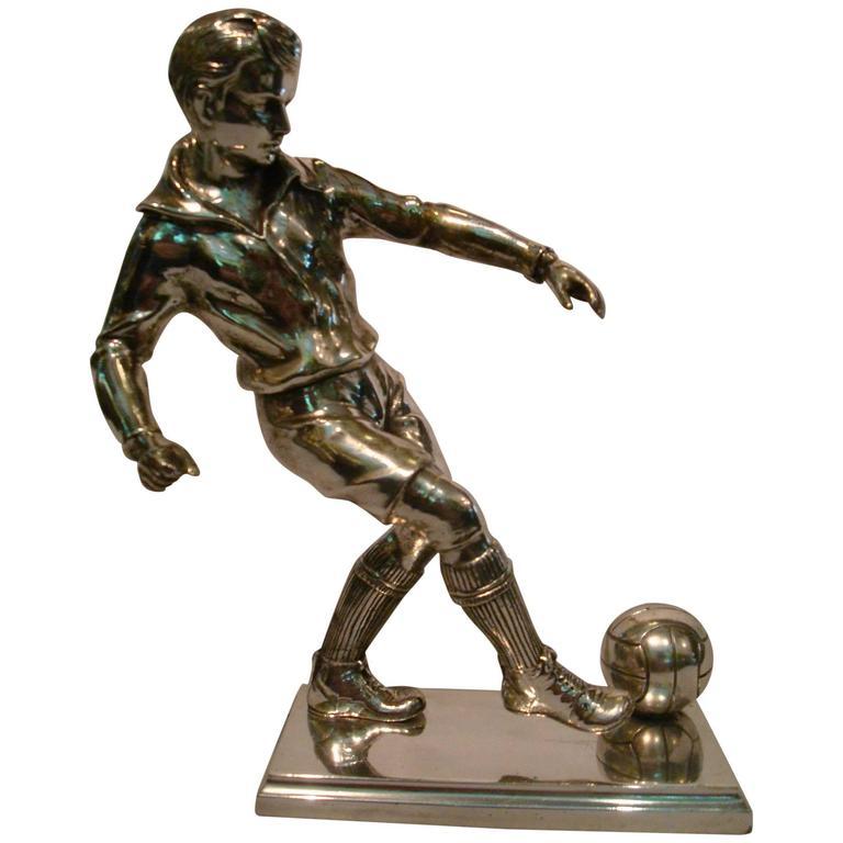 Silver Plated Bronze Soccer Football Player Sculpture