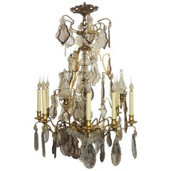 Wonderful French Gilt Bronze Crystal Obelisks Nine-Light Chandelier