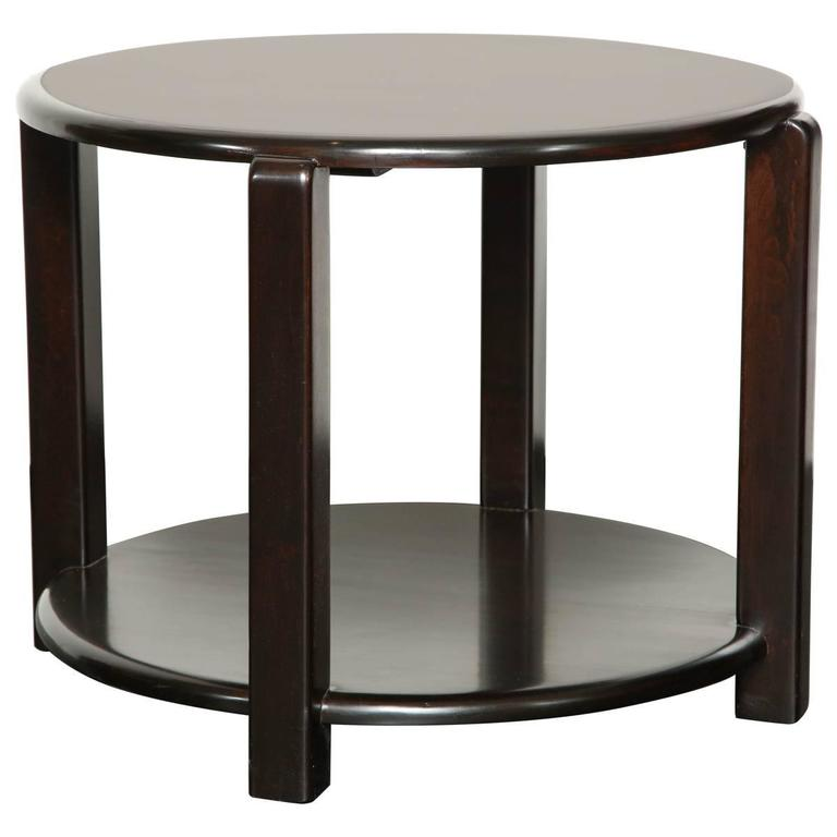 Mid-20th Century Two-Tier Ebonized Walnut Circular Table For Sale