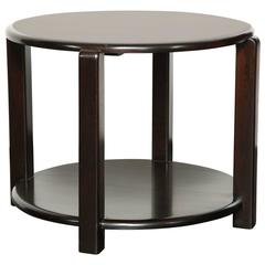 Mid-20th Century Two-Tier Ebonized Walnut Circular Table