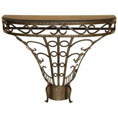 Art Deco Style, Iron and Petite Granite Console, circa 1970s