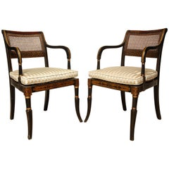 Pair of English Regency Neoclassical Caned Armchairs