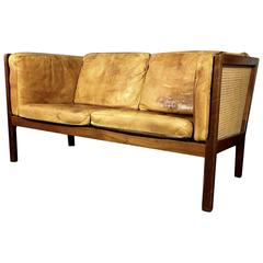 Bernt Petersen Two-Seat Leather and Cane Sofa by Wørts, Denmark, 1964