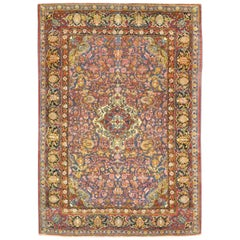 Antique Hand Knotted Wool Blue Color Persian Isfahan Rug