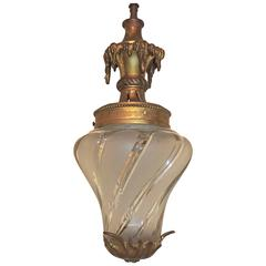 Wonderful French Bronze Filigree Frosted Swirl Beveled Glass Lantern Fixture