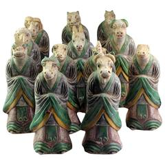 Important Ancient Chinese Zodiac Complete Collection Sculptures, Ming Dynasty