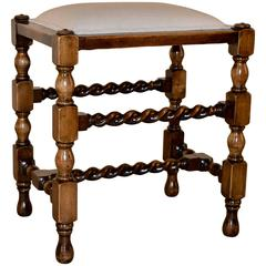 19th Century English Oak Turned Stool