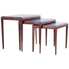 Mid-Century Modern Nesting Tables in Rio Rosewoodand Tiles Top by Johannes Ande