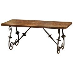 19th Century Spanish Walnut Coffee Table with Iron Legs and Stretcher
