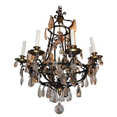 Wonderful French Bagues Iron Gold Gilt Crystal Obelisk Chandelier Scroll Fixture