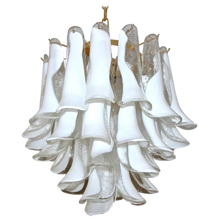 Mazzega Murano Clear and White Petal Chandelier For Sale