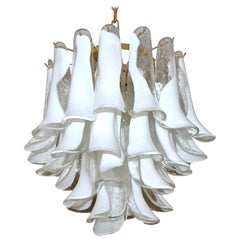 Mazzega Murano Clear and White Petal Chandelier