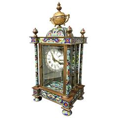 Striking Cloisonne and Bronze Mantel Clock
