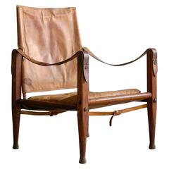 Safari Chair in Patinated Cognac Leather by Kaare Klint for Rud Rasmussen