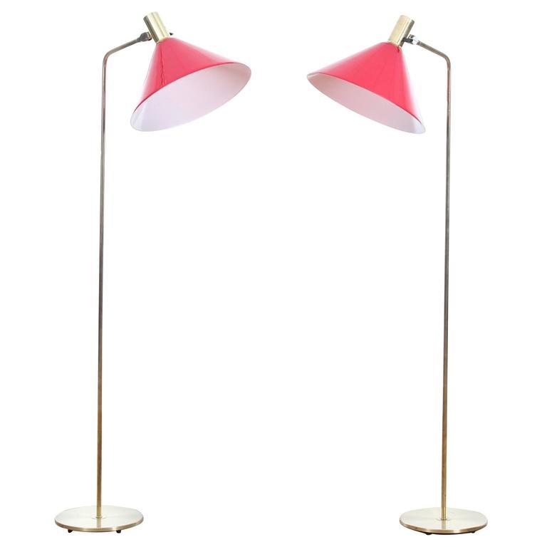 Mid-Century Modern Scandinavian Pair of Floor Lamp in Brass and Acrylic