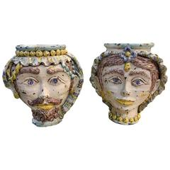 Pair of 19th Century Sicilian Majolica Rusticated Jardinieres
