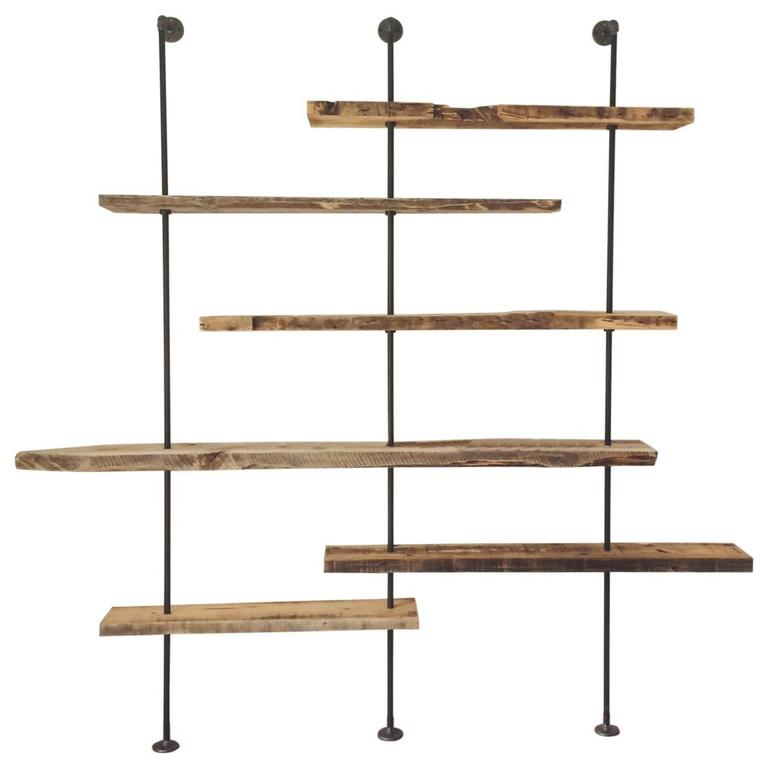 Hover Shelving Unit in Salvaged Wood and Iron For Sale