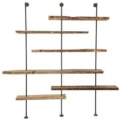 Hover Shelving Unit in Salvaged Wood and Iron