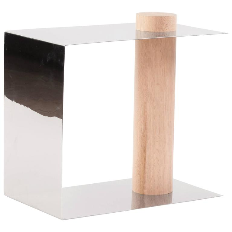 Puru Modern Side Table, Polished Stainless Steel & White Oak by Estudio Persona For Sale