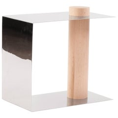 PURU Side Table in Polished Stainless Steel & White Oak by Estudio Persona