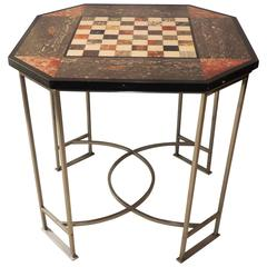 Wonderful Marble Inset Mosaic Top Chess Game Table Brushed Silvered Square Base