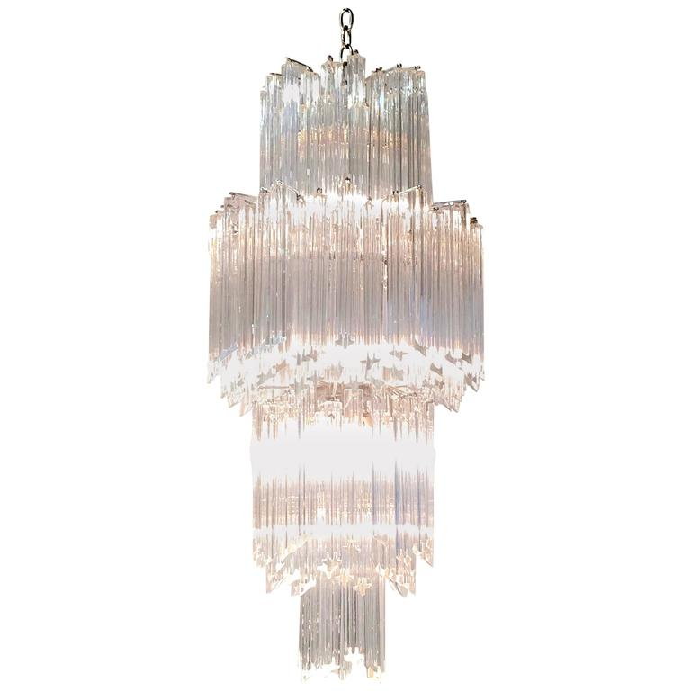 Art Deco Revival Italian Crystal Chandelier By Camer For