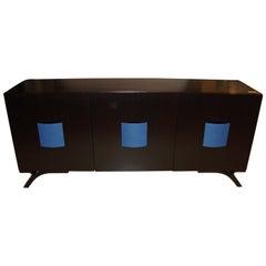 Hollywood Regency Style Dakota Jackson Ebony and Celeste Blue Panel Sideboard