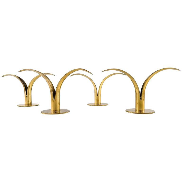 "Two Pairs of Candlesticks in Brass, ""Liljan"" Ivar Alenius Bjork, Ystad Metal For Sale"