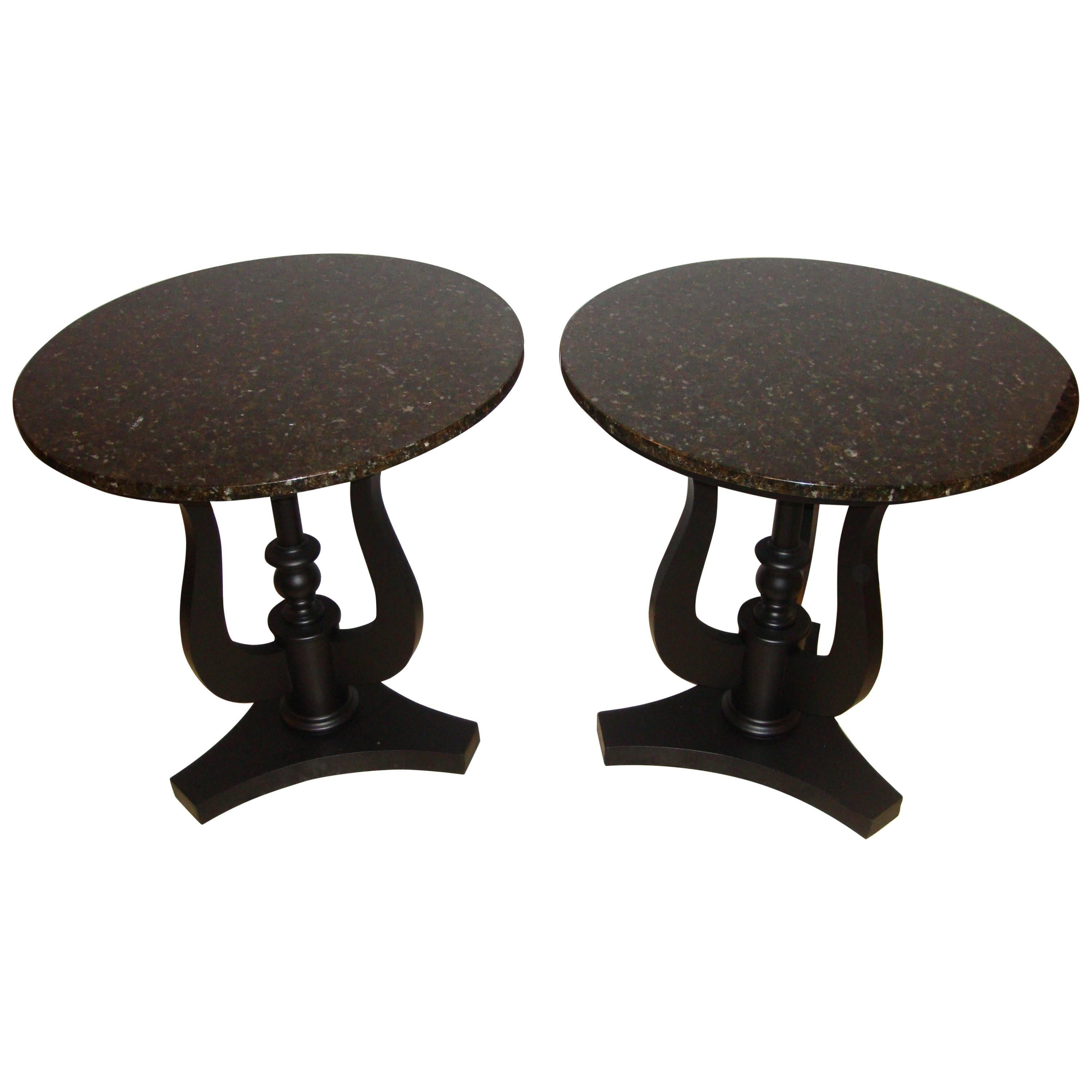 Pair of Art Deco Ebony Based End Tables with Black Marble Tops