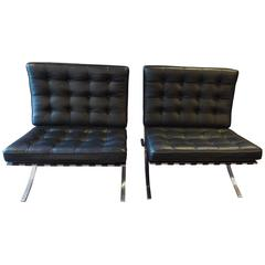 Vintage Mies van der Rohe Barcelona Chairs in Chrome & Steel with Black Leather