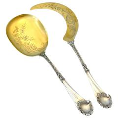 Soufflot Rare French All Sterling Silver 18-Karat Gold Ice Cream Servers