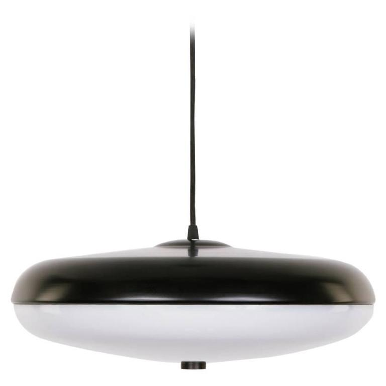 Phare Pendant In Powder Coated Black Spun Aluminum With A White Lucite Shade For Sale